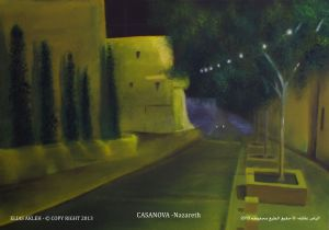 Casanova street at night, Nazareth city