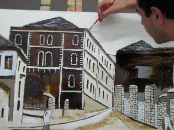 Casanova street, Nazareth, painting on glass